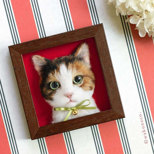 wakuneco-Artista-japonésa-retratos-realistas-de-gatos-en-3D-con-lana-fieltro