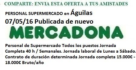 Aguilas, Murcia. Lanzadera de Empleo Virtual. Oferta Mercadona