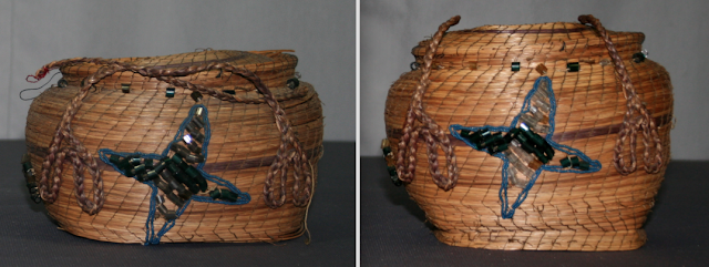 Spicer Art Conservation of objects, including Native American antique baskets with glass bead embellishments, repair and preservation of old baskets, basket collections