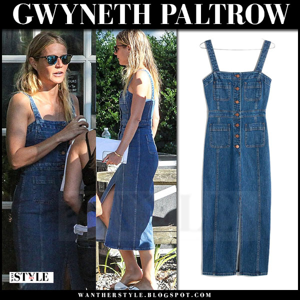 Gwyneth Paltrow in denim midi button dress madewell what she wore
