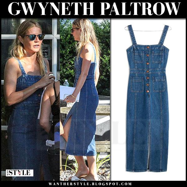 28c06072b6 Gwyneth Paltrow in denim midi dress at Coldplay concert on August 7 ...
