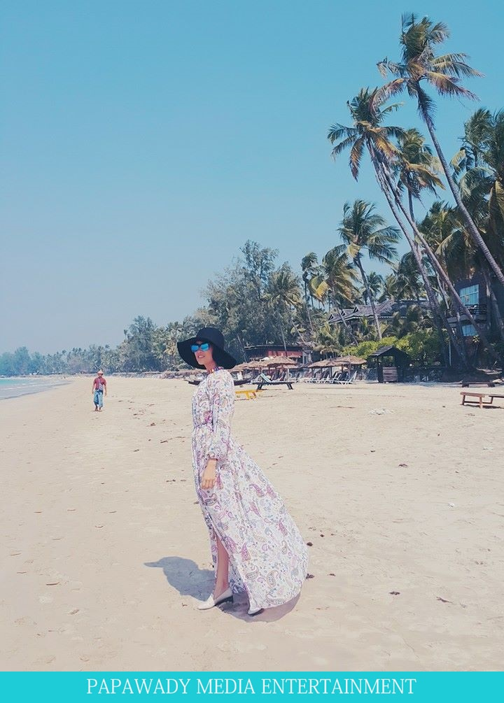 Aye Myat Thu In Nga Pali Beach and Shooting Scenes , Fashion Dress