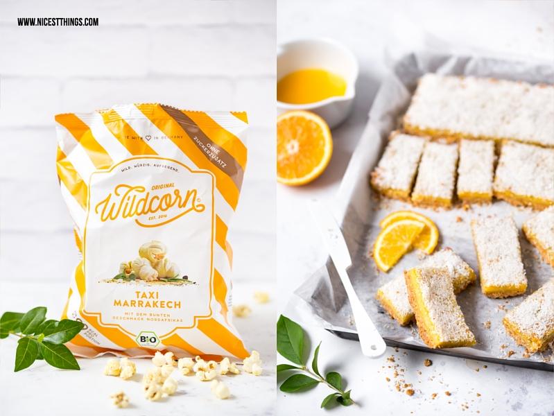 Wildcorn Popcorn und Orangen Müsli Schnitten