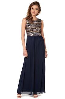 Club L Zigzag Sequin Maxi Dress