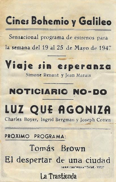 Programa de Cine - Luz que Agoniza - Charles Boyer - Ingrid Bergman - Joseph Cotten