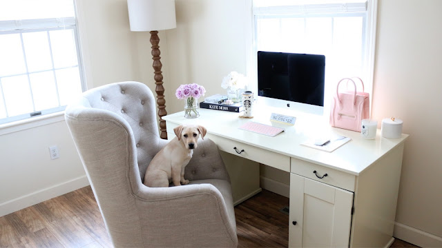 Desk Decor, Girly Desk, Girly Office, Home Office, Cute lab puppy, Desk Organization Ideas