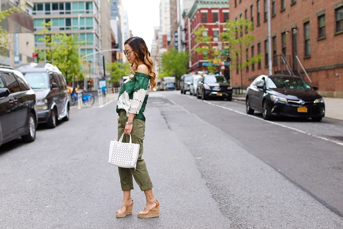 Tibi off shoulder top, banana republic straight fit chino, khaki pants, ann taylor crossbody tote, quay cherry bomb sunglasses, tory burch wedge sandals, nyc street style