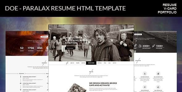 Best Parallax Resume HTML Template