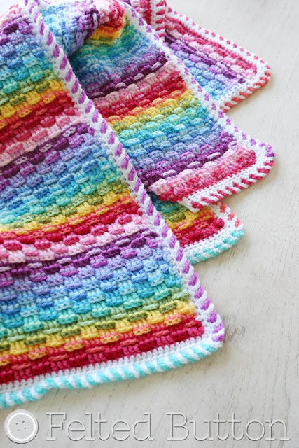 Basket of Rainbows Blanket Crochet Pattern by Susan Carlson of Felted Button