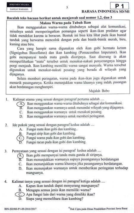 Soal Dan Jawaban Latihan Usbn Bahasa Indonesia Sd Tahun 2020 Pendidikan Kewarganegaraan Pendidikan Kewarganegaraan
