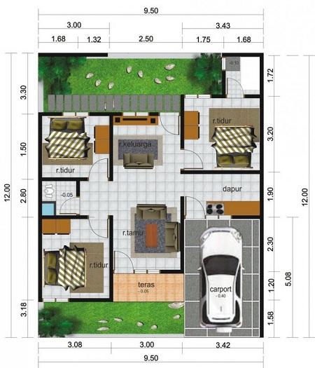 contoh Sketsa denah Rumah Minimalis 1 lantai ukuran 6x12