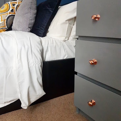 ikea malm upcycle in grey with copper handles what claire did