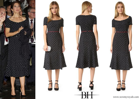 Crown Princess Mary wore Black Halo Nella Polka Dot Dress