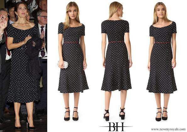 Crown Princess Mary wore Black Halo Nella Polka Dot Dress
