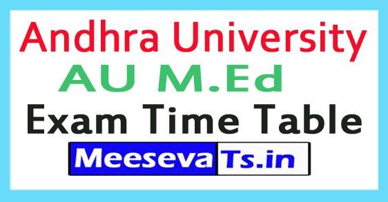 Andhra University AU M.Ed Exam Time Table 2017