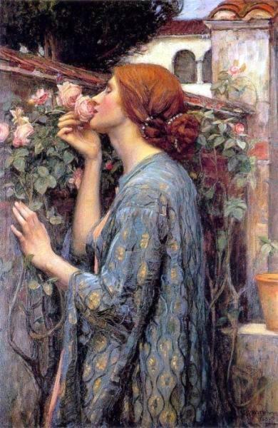 Dipinto di J. W. Waterhouse, una donna dai capelli rossi annusa un roseto rosa