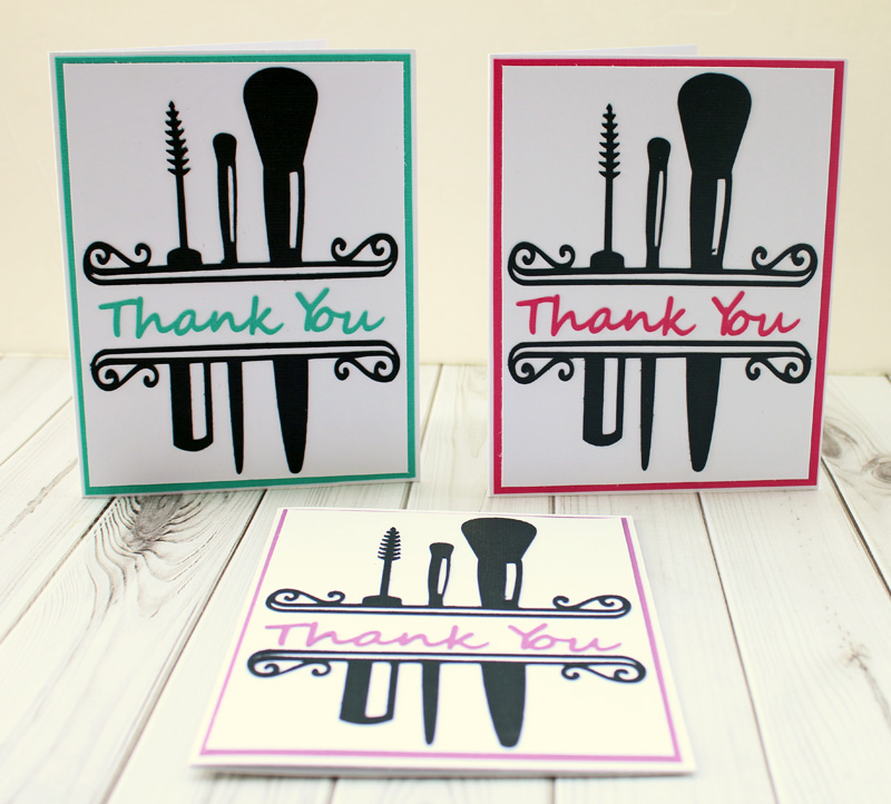 Taylor Stamped Makeup Themed Thank You Cards