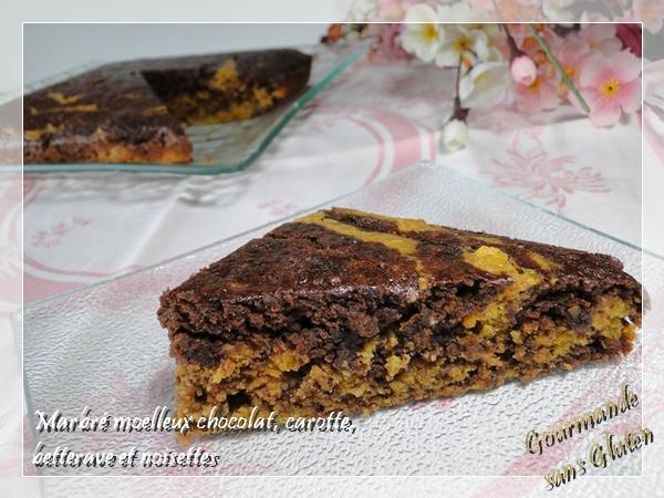 Marbré moelleux chocolat, carotte, betterave et noisettes