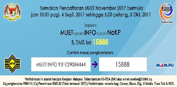 Semakan pendaftaran MUET 2017 Online