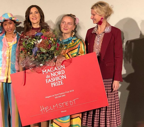 Magasin du Nord Fashion prizes winner designers Emilie Helmstedt. Crown Princess mary presented 2018 prize to Emilie Helmstedt