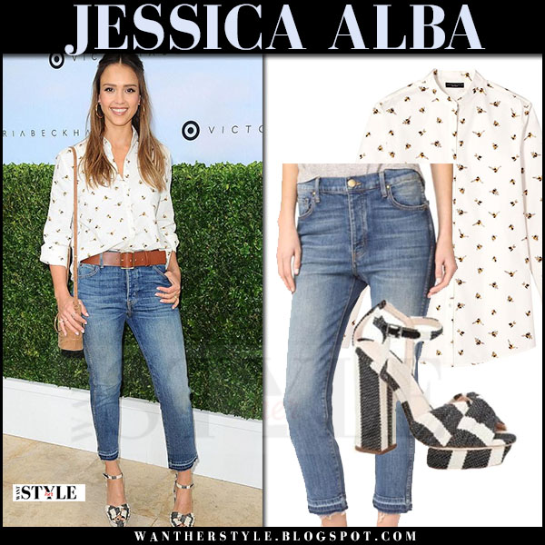 Jessica Alba in white bee print shirt victoria beckham x target, cropped jeans and striped sandals what she wore april 2017