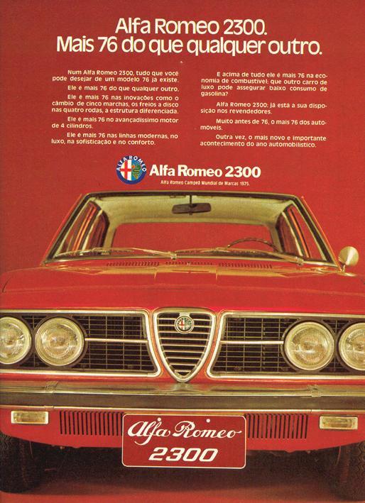 Propaganda antiga do Alfa Romeo modelo 2300 veiculada em 1976