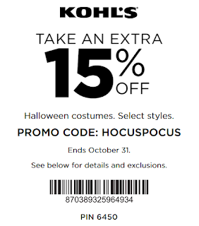 Kohl's coupon 15% Off Halloween Costumes