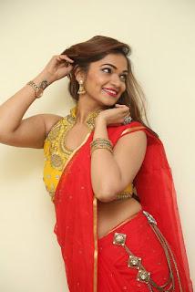 Actress Ashwini Po Shoot Stills In Red Saree With Golden Choli (5).jpg
