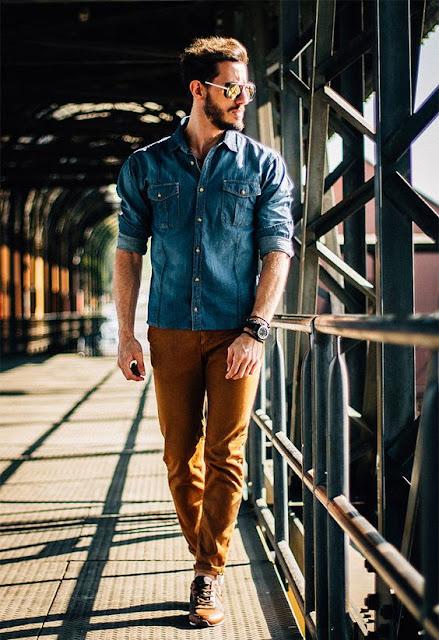 look masculino com calça marrom terroso
