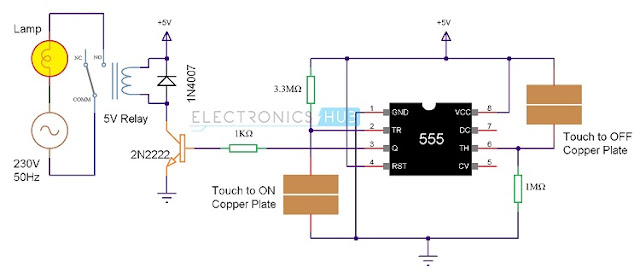 Circuit Schematic Touch ON And OFF Switch Using 555 IC