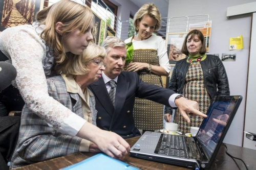 "Crown Princess Mathilde and Crown Prince Philippe visited the ""Maison Intergénérationnelle d'Outremeuse"" in Luik"