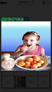 Сидит девочка за столом и ест выпечку на тарелке
