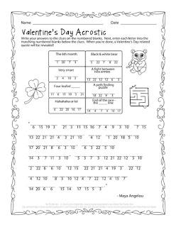 The Puzzle Den - Valentine's Day Acrostic Free Puzzle