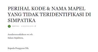 Info Simpatika : Perihal Kode & Nama Mapel Yang Tidak Teridentifikasi Di Simpatika