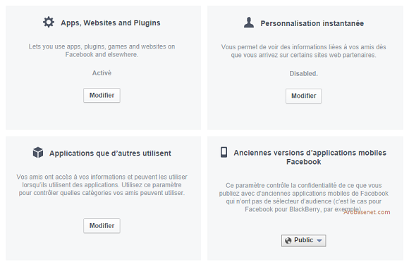 Page de gestions des paramètres des applications Facebook