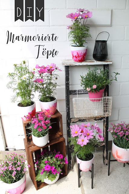 DIY marmorierte Blumentoepfe Sommerbepflanzung Cosea Nelken Jules kleines Freudenhaus