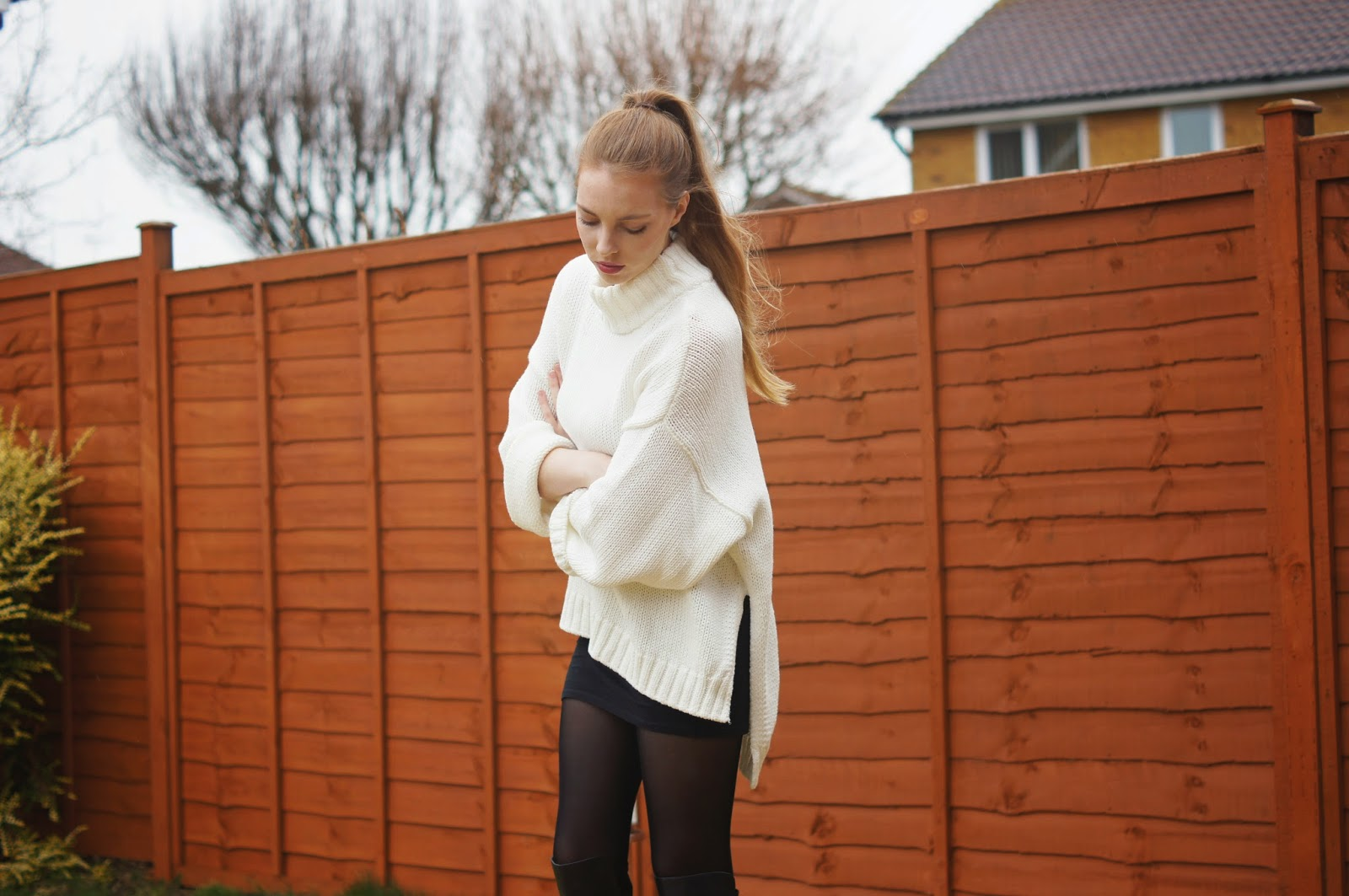 white oversized jumper dress