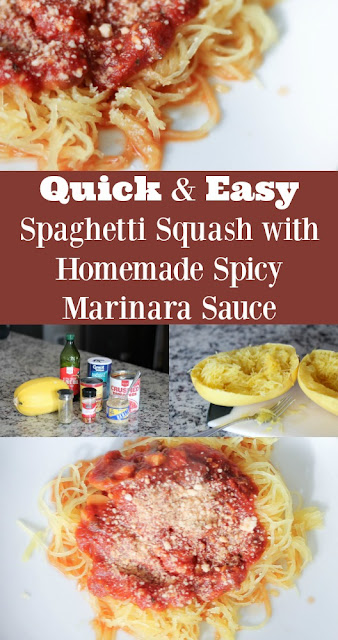 Quick & Easy Spaghetti Squash with Homemade Spicy Marinara Sauce