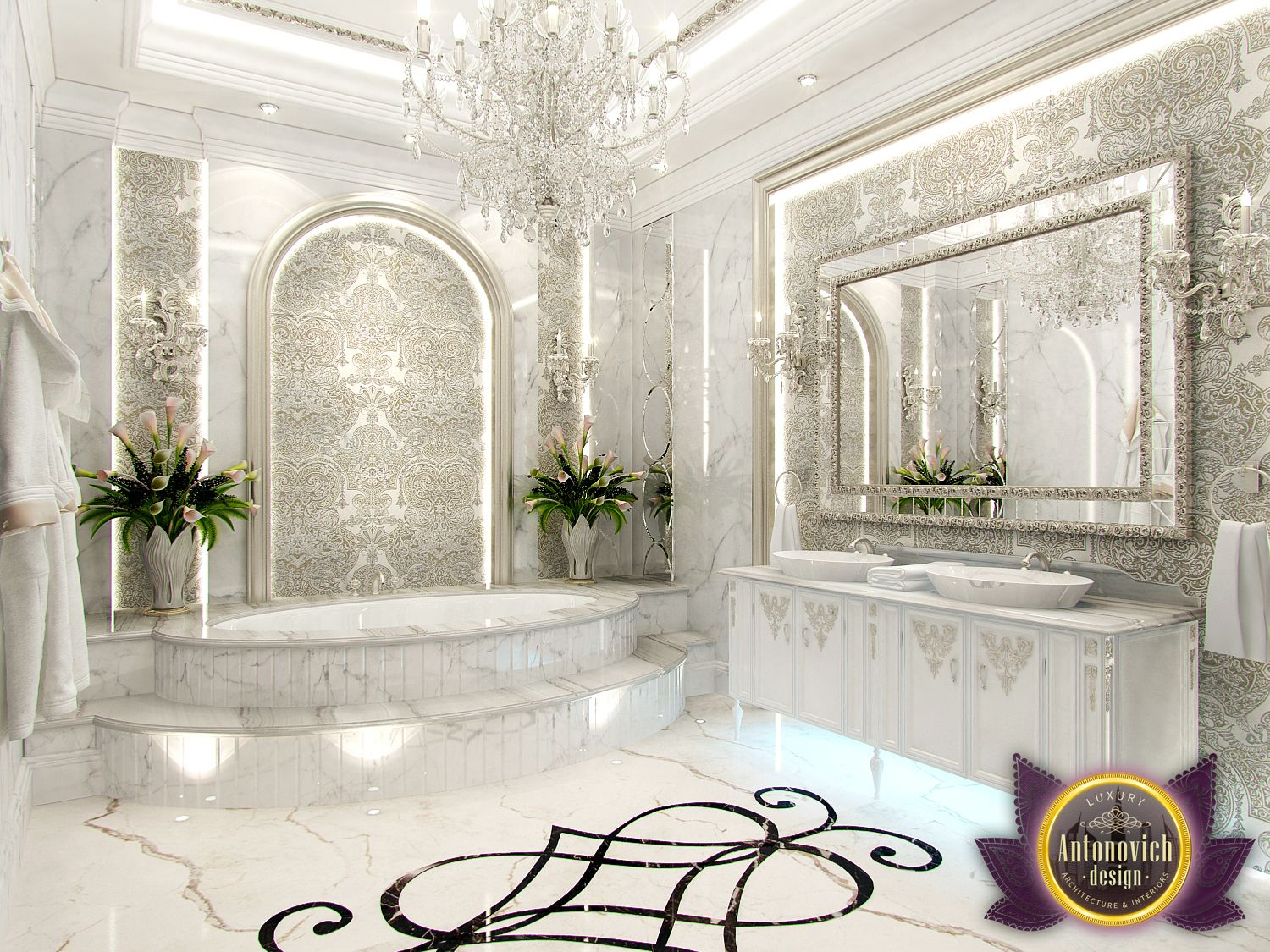 Luxury antonovich design uae interior bathroom from for Bathroom interior design 2016