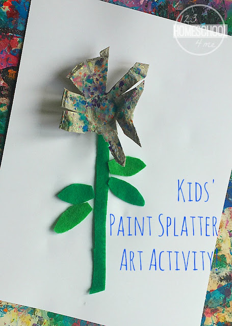 Spring Flower Craft for kids using paint splatter - Such a fun art activity to help kids explore Jackson Pollock style art or as a spring craft for for toddler, preschool, prek, kindergarten, first grade, and 2nd grade