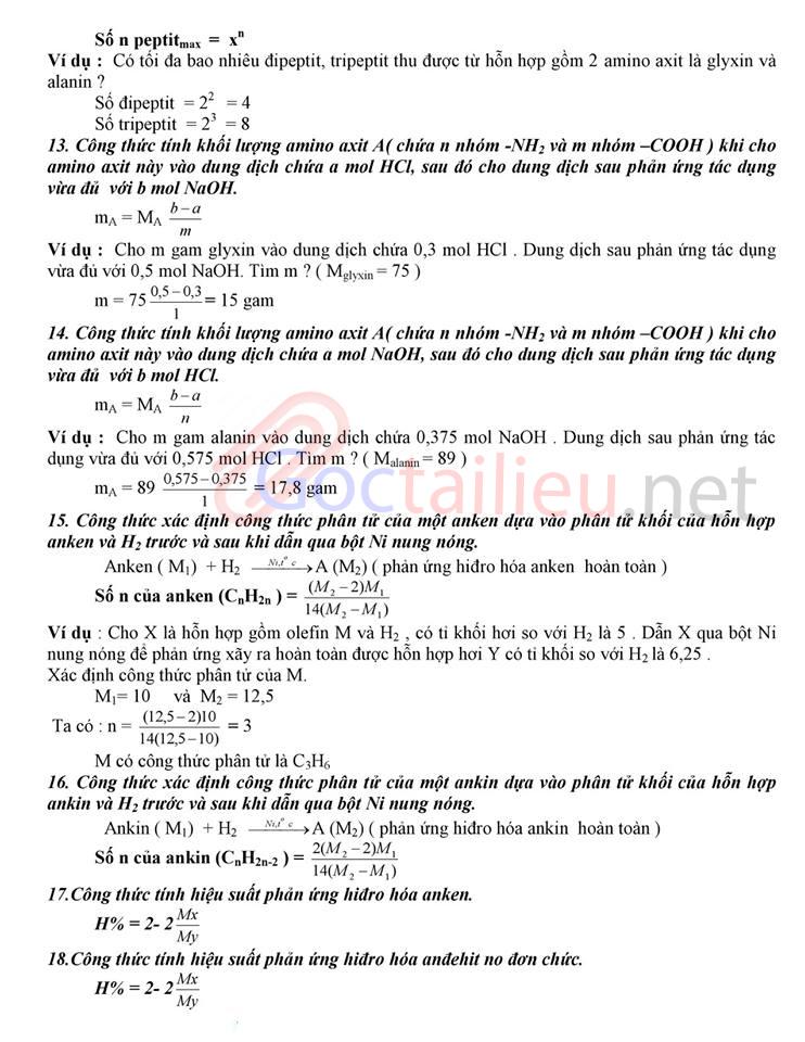công thức hóa học 12 cơ bản