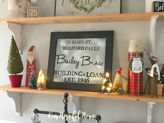 Bailey Bros. sign shelf Santa bottle brush tree Plaid thermos