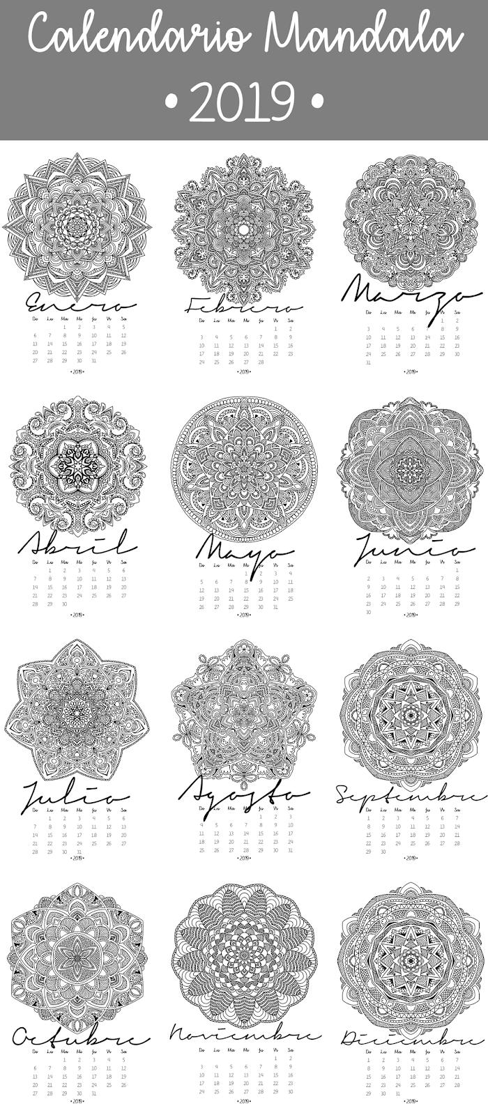 Calendario 2019 Para Colorear.Es Calendario Mandala 2019