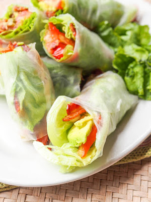 BLT Summer Rolls with Avocado from Avocado Pesto are being featured for Low-Carb Recipe Love on Fridays (7-1-16) found on KalynsKitchen.com