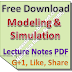 Lecture Notes on Modeling and Simulation PDF