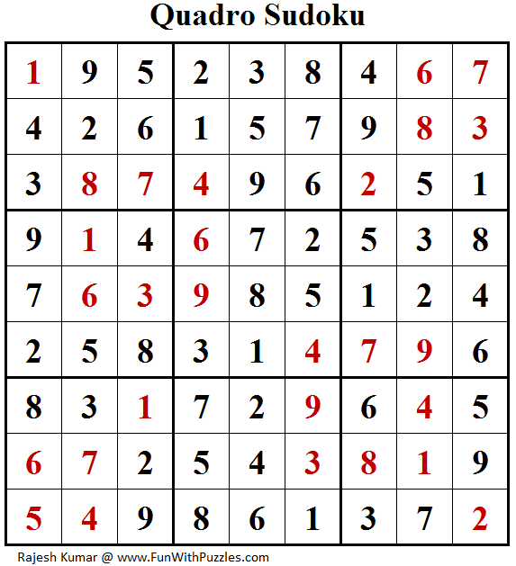 Quadro Sudoku (Fun With Sudoku #165) Solution