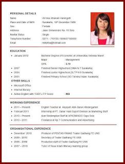 Contoh CV Staff Administrasi