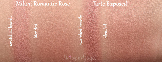 Tarte Exposed Blush vs Milani Romantic Rose Swatches