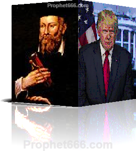 Image of the Prophet Nostradamus Visualizing US President Donald Trump