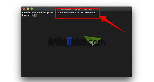 perintah terminal mac os untuk menghapus cache DNS